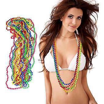 FengChun 10024367 12er Set Bunte Perlenkette Neon, Hippiekette, Kostm-Accessoire, 80er Jahre