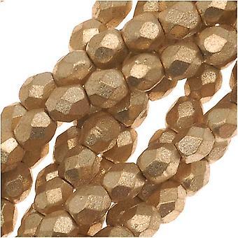 Tšekin tuli kiillotettu lasi läjät 3mm pyöreä matta metallinen kulta (50)