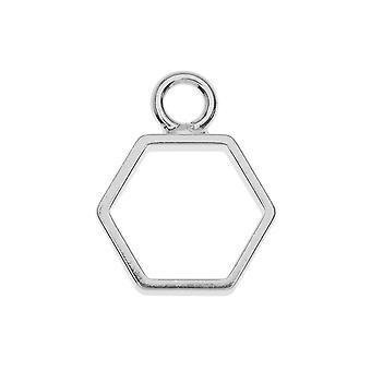 Pendentif open back bezel, Hexagon 14x18mm, 1 pièce, argent, par Nunn Design