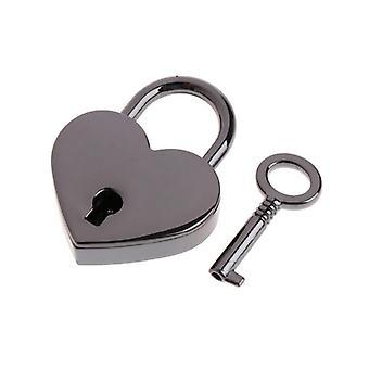 Mini lucchetto a forma di cuore vintage in stile antico rosa con serratura a chiave per viaggiare