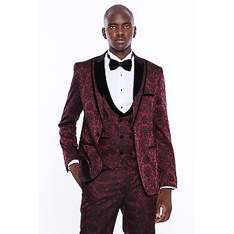 Velvet lapel floral burgundy tuxedo