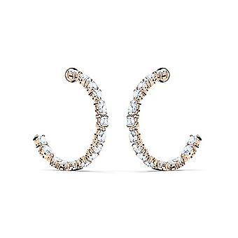 Swarovski Tennis Deluxe Mixed hoop earrings, white, rose gold plated