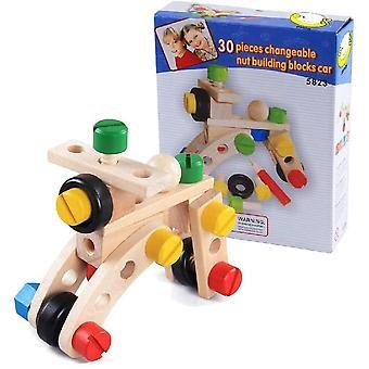 FengChun 30PCS Holz Bau Autos Bauen Nüsse Schrauben Werkzeug Set für Jungen Blöcke Ziegel DIY