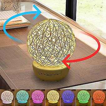 LED Rotated Rattan Ball Night Light With Bluetooth Speaker