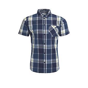 Carmine Short Sleeve Slub Check Shirt Ensign Blue