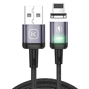 Kuulaa iPhone Lightning Magnetic Charging Cable 2 Meter with LED Light - 3A Fast Charging Braided Nylon Charger Data Cable Android Purple