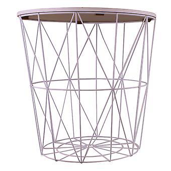 円形の幾何学的側面テーブル白&大理石効果