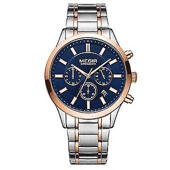 Mannen zakelijke mode horloge, roestvrij staal waterdichte lichtgevende quartz horloge (Rose Gold)