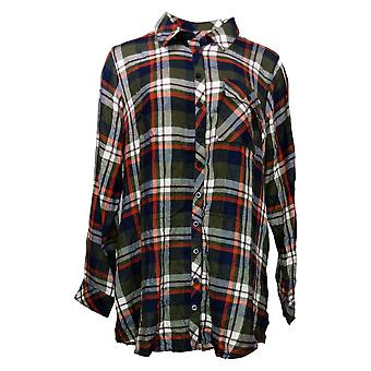 Tolani Collection Women's Top Reg Plaid Tunic Green A383438