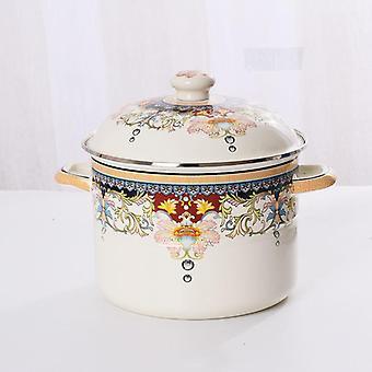 Thick Enamel Soup Pot Flat Bottom Pot Pot Stew Stew Gas Stove Universal Ceramic Cooking Pot(beige)