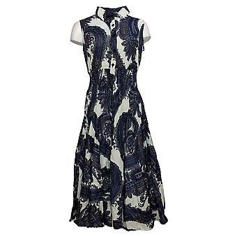 Laurie Felt Dress Printed Cotton Slub Tee with Twisted Cuff Blue A376451