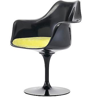 Fusion Living glansig svart och lyxig gul svängbar fåtölj