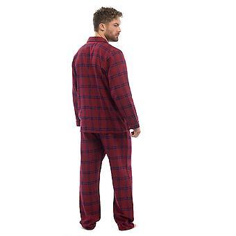 رجال القطن يارد مصبوغ الاختيار بيجاما صالة ارتداء مجموعة - الأحمر - XX-كبير