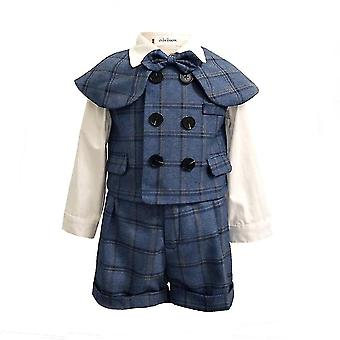 חליפות כותנה ילד עם אפוד חזה כפול סטים חליפת צעיף קצר