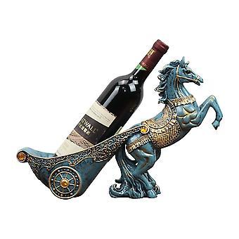 Anti slip paardenkoets wijnrek fles moderne beelden decor huis woonkamer hars ambachten|