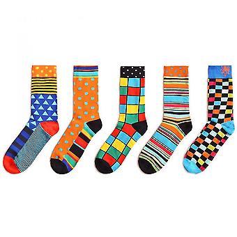 Orange men's colorful fun patterned dress socks 5 pack mz633