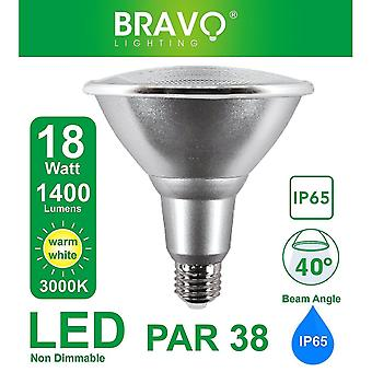 Flood spot lights bravo lighting par38 18w ip65 led e27 equivalent to 150 w halogen lamp  3000 k  warm white