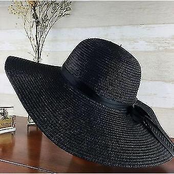 Simple foldable wide brim straw sun beach hat(55-58cm)(Black)