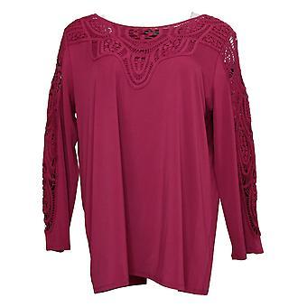 Antthony Women's Top Bracelet-Sleeve Crochet Knit Tunic Purple 716479