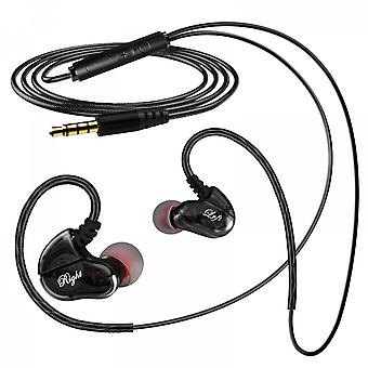S610-b Quad-core Dual-motion Coil Wired Headset Hifi High And Low Frequency Crossover Mobile Phone Line Control With Wheat 3.5mm Headset Black