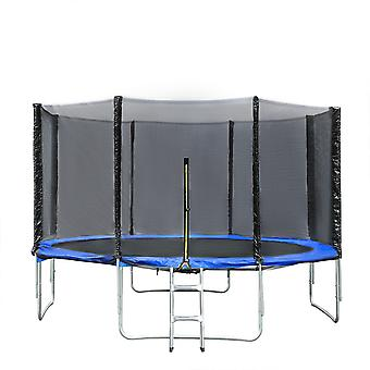 Silktaa 14ft Round Waterproof Trampoline With Safety Fence Net Indoor And Outdoor Round Trampoline