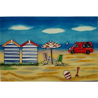 "YH Arts Ceramic Wall Art, Day At The Beach Ice Cream Van 12 x 8"""