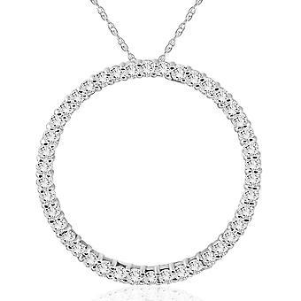 1 CT Diamant Kreis des Lebens Ewigkeit Anhänger 14K White Gold