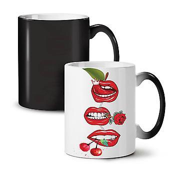 Lip Cherry Cool NEW Black Colour Changing Tea Coffee Ceramic Mug 11 oz | Wellcoda