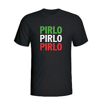 Andrea Pirlo Italien Spieler Flag T-shirt (schwarz)