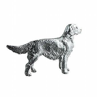 Zilveren 25x40mm lange haired Labrador broche