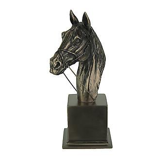 Impressionante estátua busto cavalo puro-sangue de revestimento de Bronze