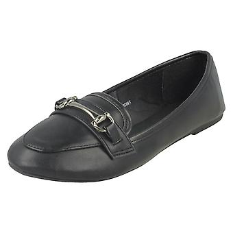 Ladies Spot On Flat Loafer Shoes F80299