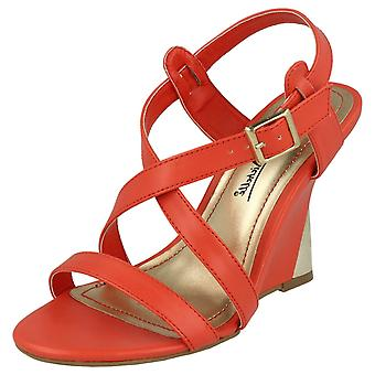 Ladies Anne Michelle High Wedge Sandals 'L3387' - Coral, Size UK 5