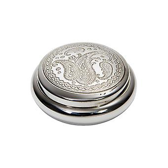 Paisley Embossed Pewter Trinket Box