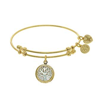 Tree Of Life Charm With Synthetic Mother Of Pearl Expandable Bangle Bracelet, 7.25