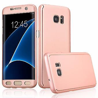 Capa de proteção móvel caso capa completa 360 com filme protetor de tela para Samsung Galaxy S7 borda em uma protecção completa rosa telefone caso capa case