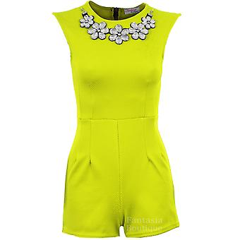Ladies Sleeveless Floral Jewelled Necklace Textured Women's Smart Playsuit Shorts