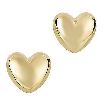 14 k Gold glänzenden Blätterteig Herz Form Ohrstecker 7 x 8mm