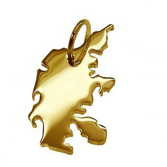 Remorque carte pendentifs en or jaune-or sous la forme du Danemark