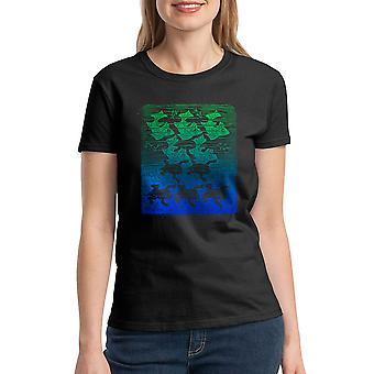 M.C. Escher Fish Frogs Women's Black T-shirt