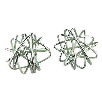 Ti2 Titanium Round Cage Chaos Stud Earrings - Aqua Blue