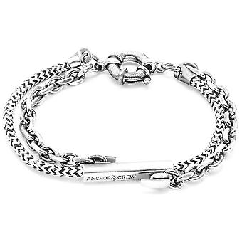 Anchor and Crew Belfast Silver and Rope Bracelet - White Noir