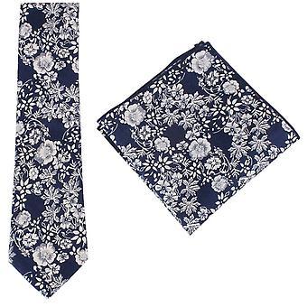 Knightsbridge Neckwear Floral Tie and Pocket Square Set - Navy/White