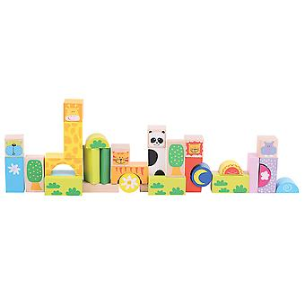 Bigjigs Toys Safari Animal Wooden Building Stacking Blocks Bricks Construction