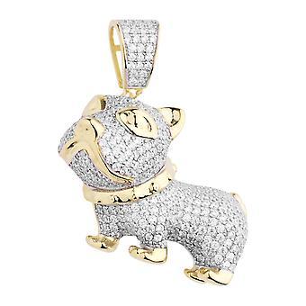 Premium Bling - 925 sterlinghopea 3D koira riipus gold