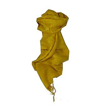 Czysty Jedwab surowy długi szalik Hanoi splot złota przez Pashmina & Silk