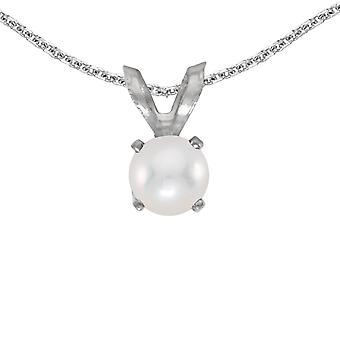 LXR 14k White Gold Freshwater Cultured Pearl Pendant