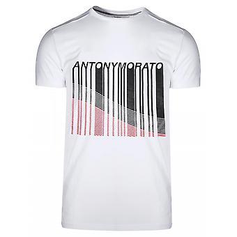 Antony Morato Sport Crew Neck White Line Print Logo T-Shirt