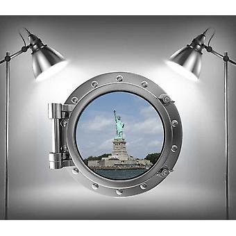 Full Colour Statue of Liberty Porthole America Wall Sticker