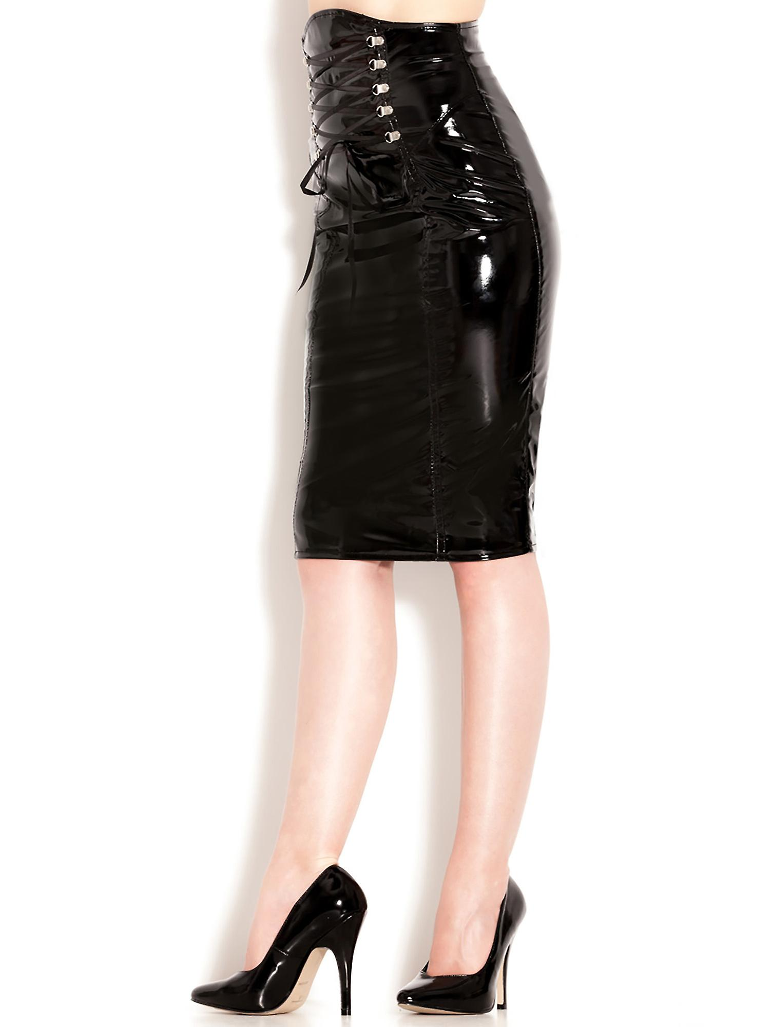 Honour Women's Sexy Pencil Skirt in PVC Black Hourglass Secretary Style Outfit